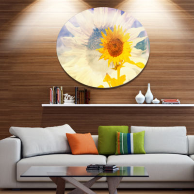 Design Art Double Exposure Yellow Sunflowers Floral Metal Circle Wall Art