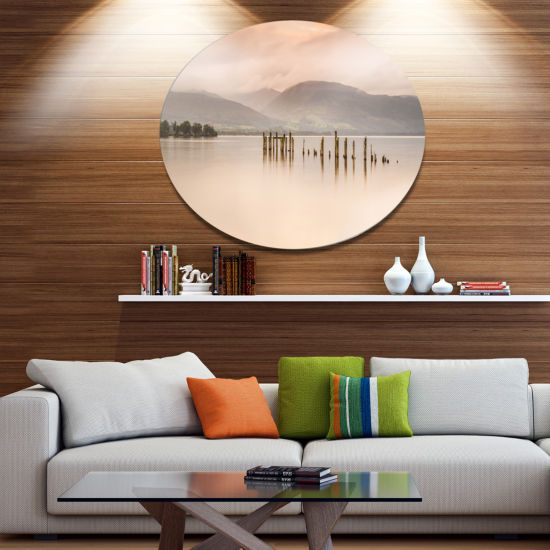 Design Art Loch Lomond Jetty and Mountains Large Landscape Metal Circle Wall Art