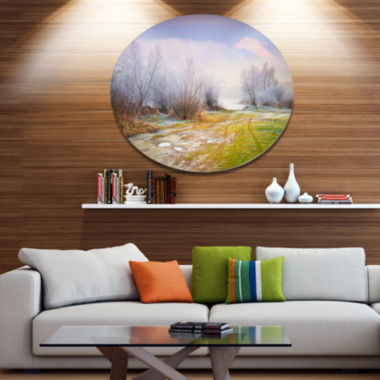 Design Art Beautiful Foggy Autumn Sunset Large Landscape Metal Circle Wall Art