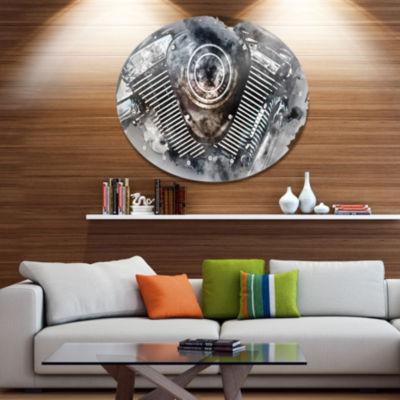 Design Art Motorcycle Engine Watercolor Contemporary Metal Circle Wall Art
