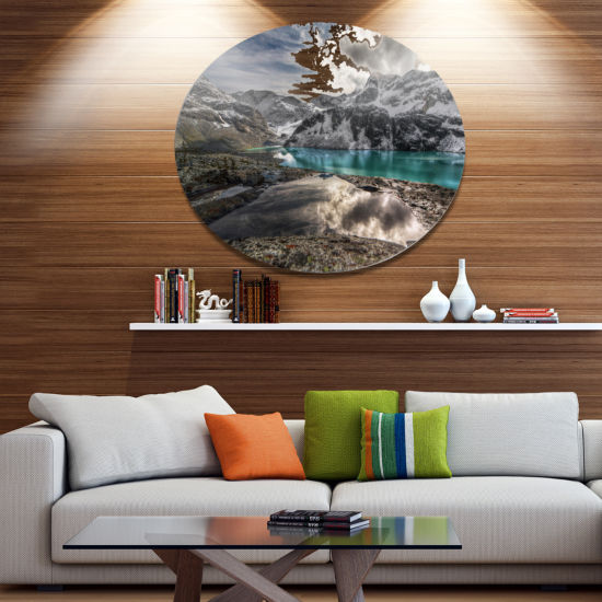 Design Art Mountain Creek under Cloudy Sky Large Landscape Metal Circle Wall Art