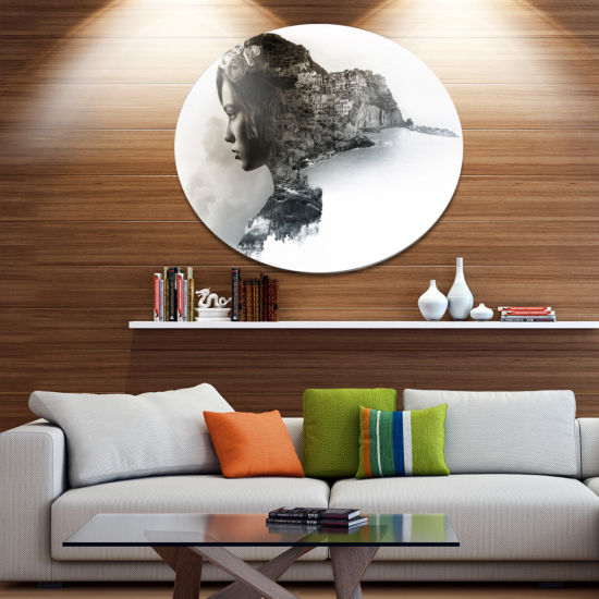 Design Art Stylish Woman and View of Manarola Portrait Metal Circle Wall Art