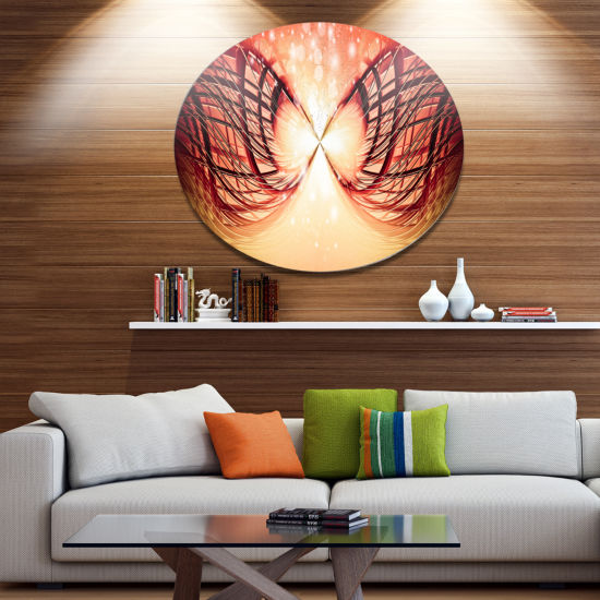 Design Art Bright Light on Red Fractal Design Abstract Metal Circle Wall Art Print