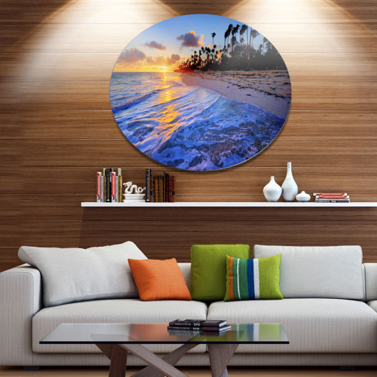 Design Art Blue Waves Along the Shore Seashore Metal Circle Wall Art