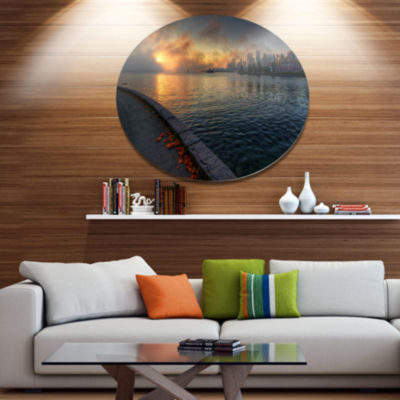 Design Art Tranquil Vancouver Downtown View ExtraLarge Landscape Metal Circle Wall Art