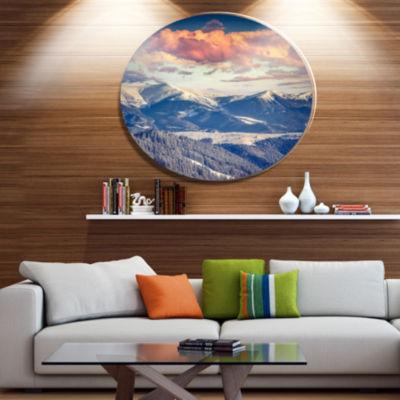 Design Art Winter Alpine Sunset over Hills Large Landscape Metal Circle Wall Art