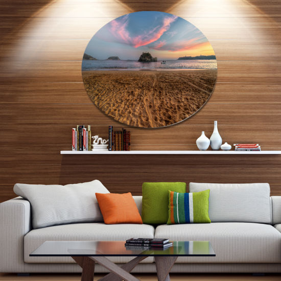 Design Art Trodden Sand on Beach at Sunset Seashore Metal Circle Wall Art