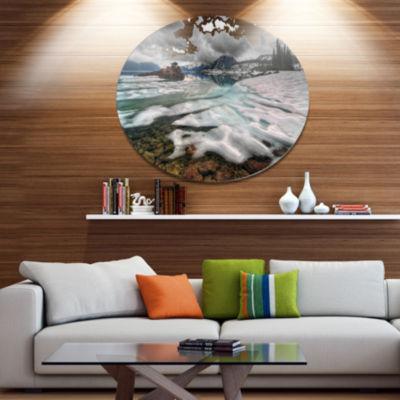 Design Art Frozen Mountain Lake Shore Large Landscape Metal Circle Wall Art