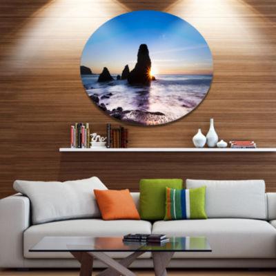 Design Art Sunset at Rodeo Beach Panorama SeashoreMetal Circle Wall Art
