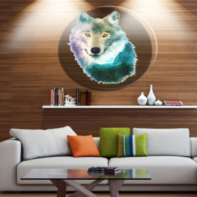 Design Art Wolf Head Double Exposure Drawing LargeAnimal Metal Circle Wall Art