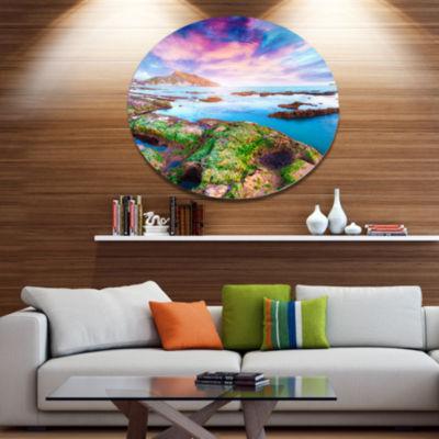 Design Art Sunset from the Giallonardo Beach Landscape Metal Circle Wall Art