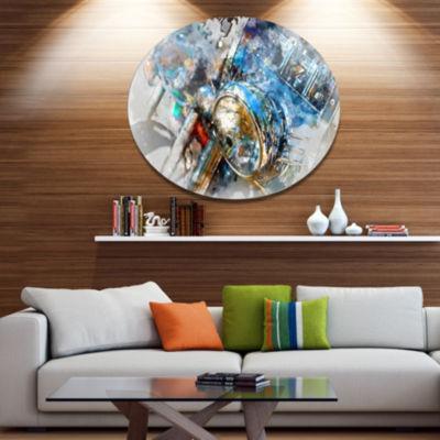 Design Art Motorcycle Headlight Watercolor Contemporary Metal Circle Wall Art