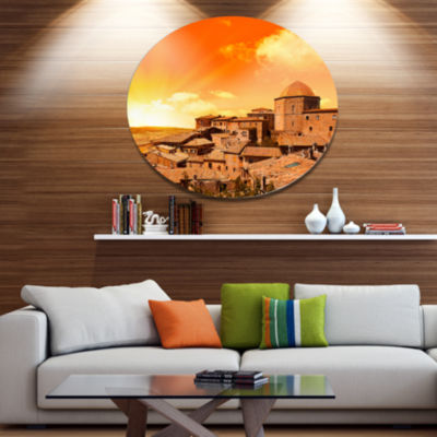 Design Art Wonderful Italy Tuscany Hill at Dawn Extra Large Metal Circle Wall Art