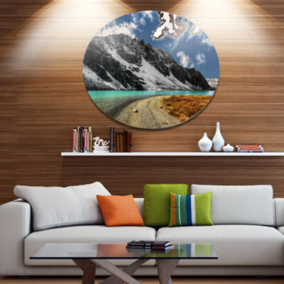Design Art Bright Sky and Blue Mountain Lake Landscape Metal Circle Wall Art