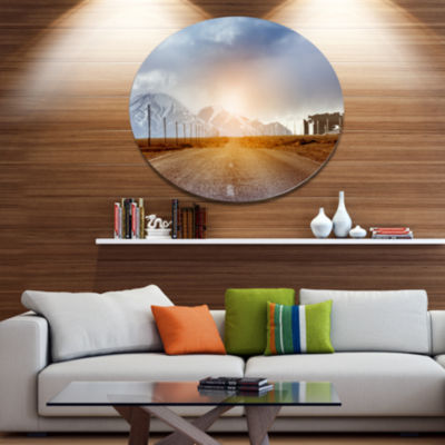 Design Art Straight Road under Blue Sky Large Landscape Metal Circle Wall Art