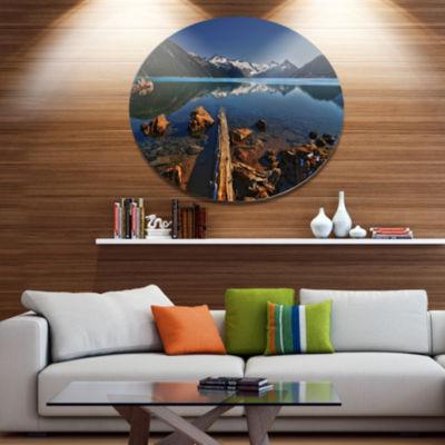 Design Art Large Logs in Mountain Lake Extra LargeLandscape Metal Circle Wall Art