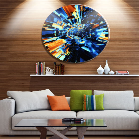 Design Art Into the Center Blue Fractal Design Abstract Metal Circle Wall Art Print