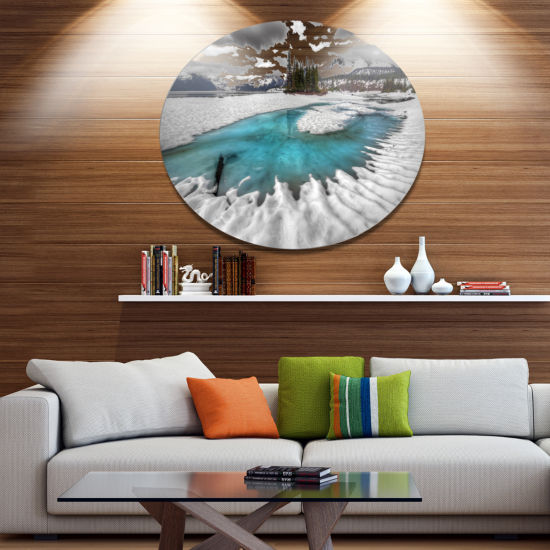 Design Art Frosted Crystal Clear Lake Large Landscape Metal Circle Wall Art