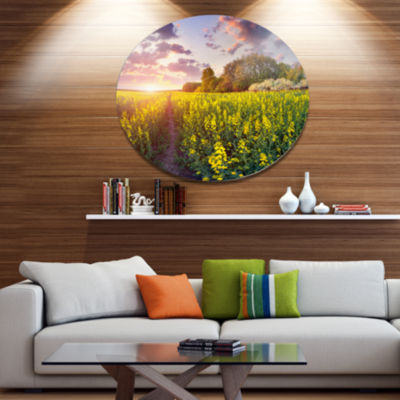 Design Art Fantastic Yellow Field at Sunset LargeLandscape Metal Circle Wall Art