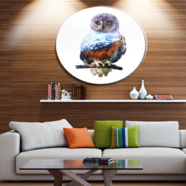 Design Art Owl Double Exposure Illustration LargeAnimal Metal Circle Wall Art