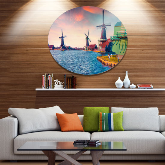 Design Art Zaandam Mills on Water Channel Large Landscape Metal Circle Wall Art