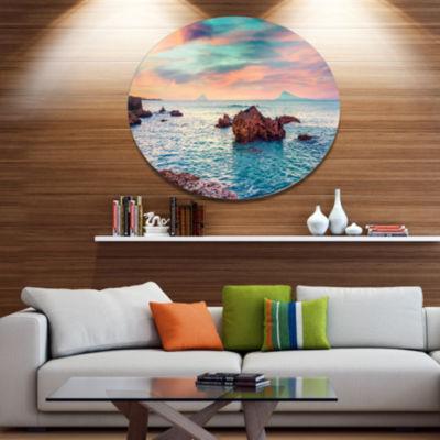 Design Art Sunrise on the Mediterranean Sea Seashore Metal Circle Wall Art