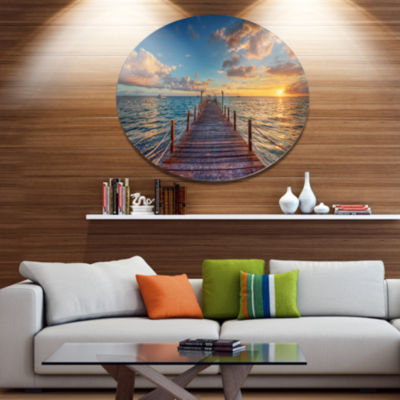 Design Art Brilliant Sunrise over Sea Pier Metal Circle Wall Art