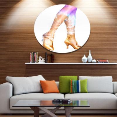 Design Art Dancer Legs and Treescape Double Exposure Portrait Metal Circle Wall Art