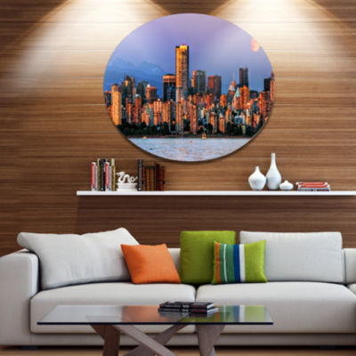 Design Art Vancouver Downtown Skyscrapers Extra Large Metal Circle Wall Art