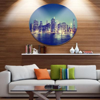 Design Art New York City Evening Panorama Extra Large Metal Circle Wall Art