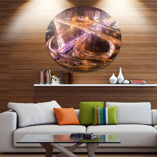 Design Art Beautiful Shanghai Traffic Extra LargeMetal Circle Wall Art