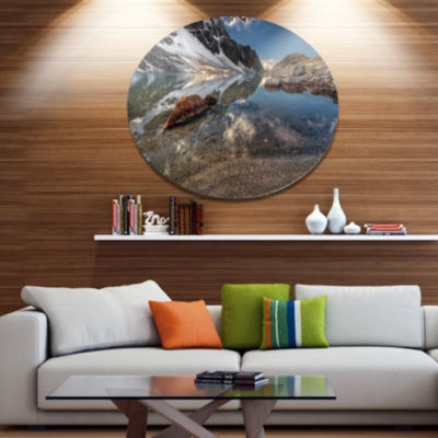 Design Art Sapphire Mountain Lake View Landscape Metal Circle Wall Art