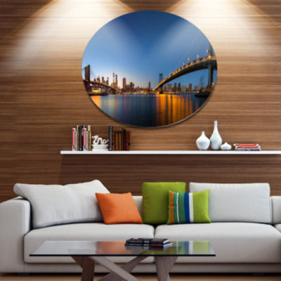 Design Art New York City Dusk Panorama Extra LargeMetal Circle Wall Art