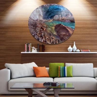 Design Art Stylish and Colorful Glacier Cave Landscape Metal Circle Wall Art