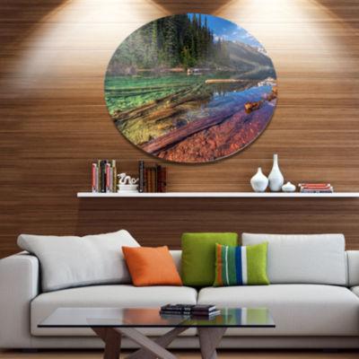 Design Art Beautiful View of Mountain Lake Extra Large Landscape Metal Circle Wall Art