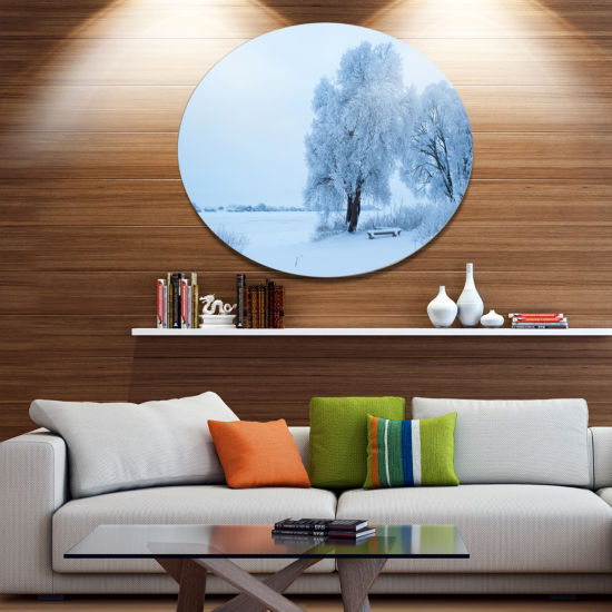 Design Art Foggy Yuriev Monastery Large LandscapeMetal Circle Wall Art