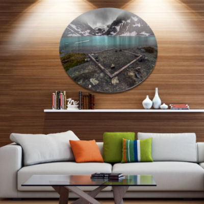 Design Art Mountain Lake and Cloudy Sky LandscapeMetal Circle Wall Art