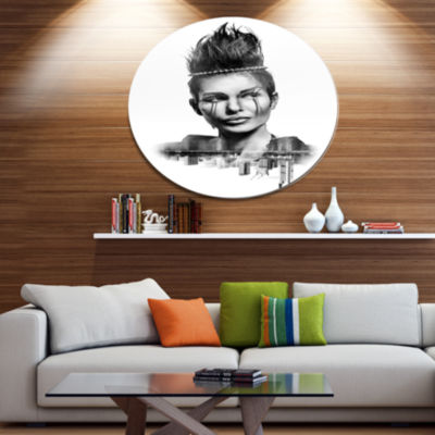 Design Art Double Exposure Woman With Hair Portrait Metal Circle Wall Art