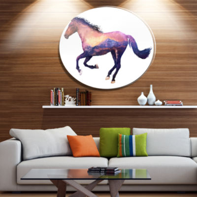 Design Art Horse Double Exposure Illustration Large Animal Metal Circle Wall Art