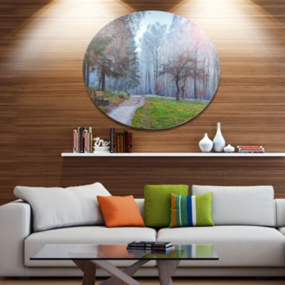 Design Art Bright Sun over Autumn Trees Large Landscape Metal Circle Wall Art