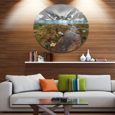 Design Art Cloudy Sky above Mountain Lake Landscape Metal Circle Wall Art