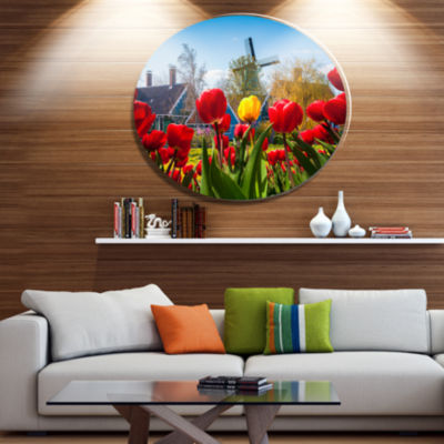 Design Art Tulips in the Netherlands Village Floral Metal Circle Wall Art