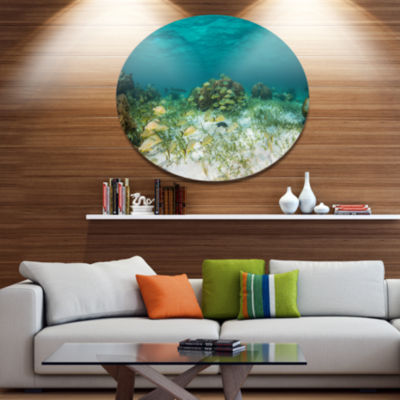 Design Art School of Grunts with Baracuda SeashoreMetal Circle Wall Art