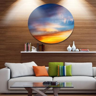 Design Art Sunset Dramatic Yellow Sky Clouds Seashore Metal Circle Wall Art