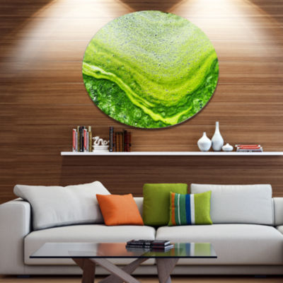 Design Art Polluted Water With Algae in Green Large Abstract Metal Artwork