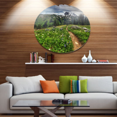 Design Art Path Through Flowering Fields Extra Large Landscape Metal Circle Wall Art