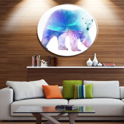 Design Art Polar Bear Double Exposure IllustrationLarge Animal Metal Circle Wall Art