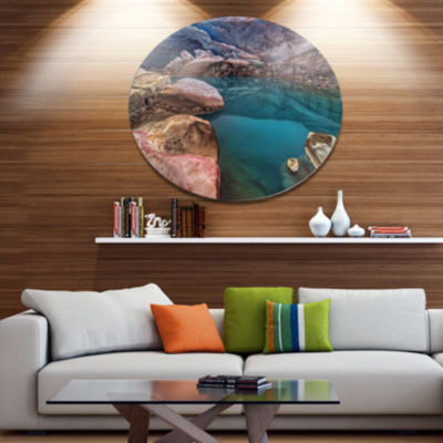 Design Art Beautiful Turquoise Melt Pool LandscapeMetal Circle Wall Art