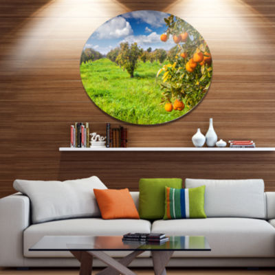 Design Art Bright Green Grass in Orange Garden Large Landscape Metal Circle Wall Art