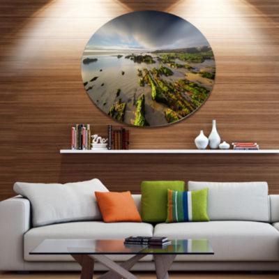 Design Art Furnas Virgin Beach Galicia Spain Seashore Metal Circle Wall Art